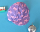 Toddler/Kid Dino Cycling Cap- Purple and Pink Dinosaurs