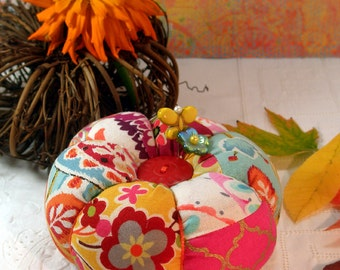 Pincushion- Falling Leaves Plump Pumpkin Patchwork Pincushion- Ready To Ship