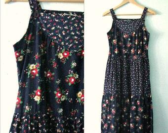 Vintage 70s floral sundress / Hippie Folk Festival dress / Bohemian 70s frock dress with pockets
