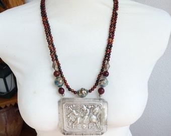 Antique Chinese Silver Repousse Plaque - Carnelian, Silver Cloisonne Beads Jade Necklaces
