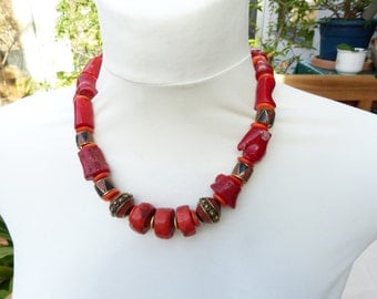 Sunshine is back -  lovely spring and summer coral necklace with Nepal brass beads, Nepal jewelry