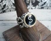 Typewriter Key Ring Initial S