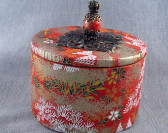 Big Washi Paper covered Round Box with Lid