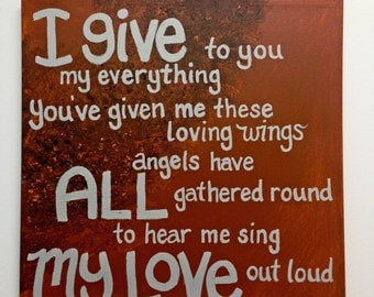 Loving Wings Lyrics // great acrylic art deal // one of a kind DMB music decor // Art for any room // brown & grey colors