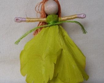 Chartreuse Flower Fairy - Fleur de lys Flower Fairy Doll - Waldorf Fairy Doll, miniature fairy doll