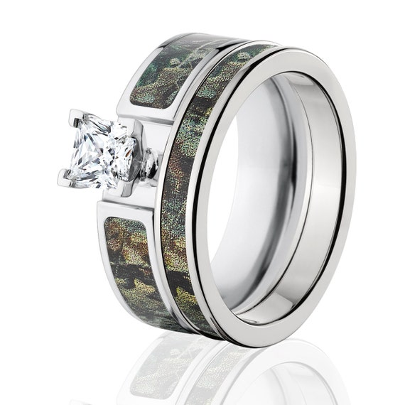 Camo Wedding Rings Sets: Cobalt Camo Bridal Ring Set RealTree Timber Bridal Set Custom