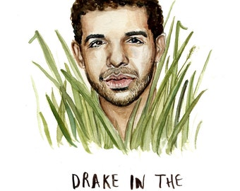 Drake in the Grass - Illustration Print - Drake Portrait Watercolor - 8x10 5x7 11x14
