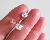Halo studs,Crystal Stud Earring,Crystal AB studs,Swarovski Stud Earrings,AB Patina Minimalist Crystal studs,Bridal Clear stud earrings 6mm