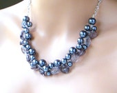 Gray Chunky Necklace, Gray Pearl Necklace, Statement Necklace, ACRYLIC, Bridesmaid Necklace, Gray Wedding Jewelry
