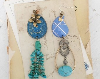blues~upcycled earrings, vintage dangles, assemblage shabby earrings, altered jewelry, vintage cameos, charm earrings, vintage, mori girl