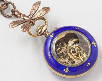 Antique Pocket Watch Case Necklace in Sterling Silver & Rose Gold with Blue Enamel, Black Opal, Gears and Dragonfly Victorian Locket Pendant