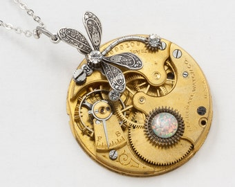 Silver Dragonfly Necklace with Vintage Elgin Gold Pocket Watch Movement set with Opal and Swarovski Crystal in Gears Steampunk jewelry 2843