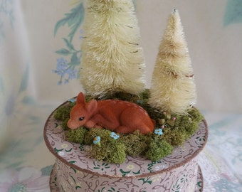 Fawn Sleeping Keepsake Box - Bottle Brush Trees, Vintage Wallpaper & Antique Millinery Stamen Flowers