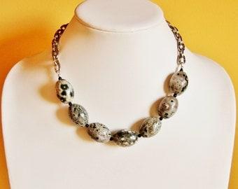 Ocean Jasper statement necklace, big bold necklace, big chunky necklace, druzy jewelry, fossil jewelry, oversized jewelry, gemstone jewelry