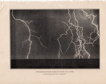 1913 LIGHTNING print original antique weather storm lithograph - electric discharge between clouds and the land