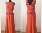 Vintage 1960s Burnt Orange Crepe Evening Dress By Susan Small Beading Xs S