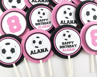 Girl Soccer Party Cupcake Toppers, Soccer Birthday Cupcake Toppers, Soccer Party Decorations - SET OF 12