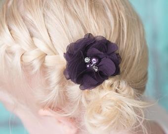 Plum hair clips, 2 clips, chiffon flower clip, piggy tail hair clips, toddler hair clip, baby hair clip, baby shower gift, flower girl clip