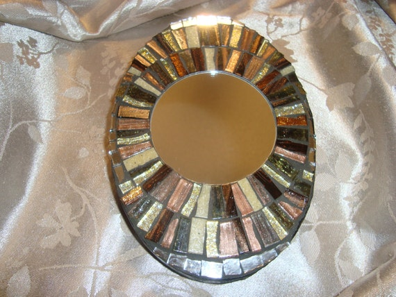 MOSAIC MIRROR Accent Mirror Small Oval Mirror Wall Art