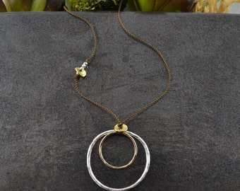 Simple Circles Linen Necklace