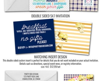Pajamas and Popcorn Invitations