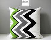 Green Chevron Pillow Cover, Modern Outdoor Pillow Cover, Decorative Black White Grey Throw Pillow Case, Sunbrella Pillow Cushion Cover