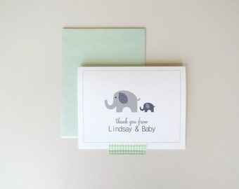 Baby and Mommy Elephant Personalized Shower Thank You Cards Boy or Girl Set of 25 with Envelopes