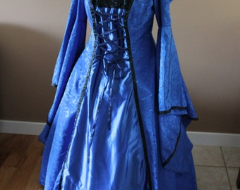 """Bust 46"""" Sapphire Blue Hooded Tudor Dress Ever After Renaissance Medieval Gown Game of Thrones Theme Wedding"""