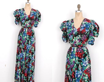 Vintage 1930s Dress / 30s Vibrant Black Floral Printed Silk Dress / Gown (small S)