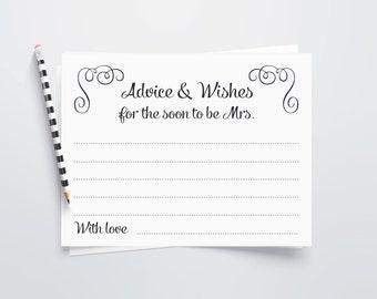 Bridal Shower Advice Cards, Printable Bridal Shower Advice Cards, Advice for Bride to Be, Hen Party Cards, Bridal Shower Game, Swirls