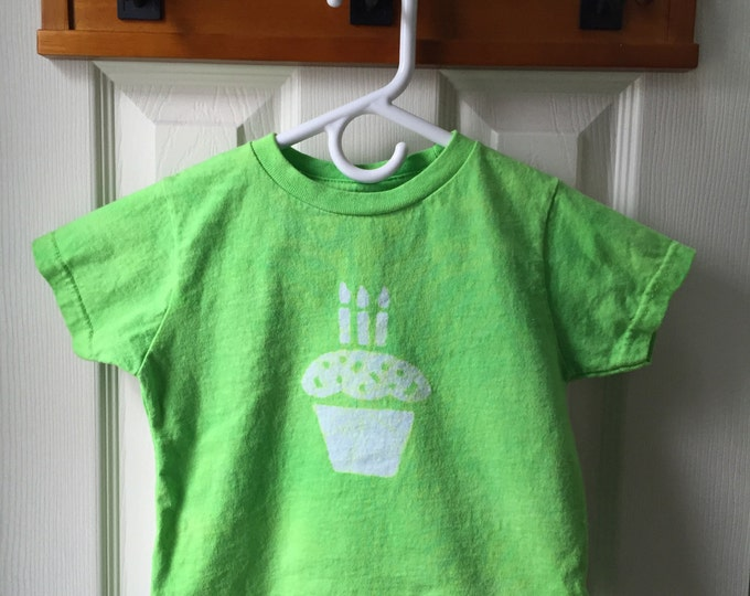 Third Birthday Shirt, Boys Third Birthday Shirt, Girls Third Birthday Shirt, Cupcake Birthday Shirt, Green Birthday Shirt (3T)