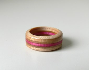 Recycled Skateboard Maple and Pink Wooden Round Spare Tire Ring - Size 9