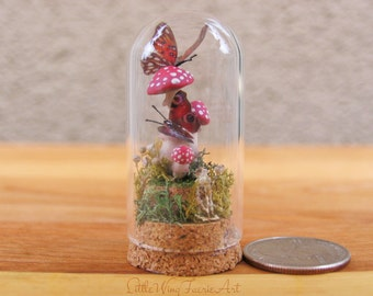 Mini Bell Jar with Amanita Mushrooms and Butterflies