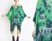 Green Caftan Mini Dress Hippie Tie Dye Dress SUNS Draped Beach Dress Slouchy Kaftan Muu Muu Summer Neon Boho Ethnic Fringe Hem (L/XL)