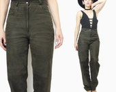 80s Suede Leather Pants Army Dark Olive Green Leather Pants High Waisted Vintage Leather Trousers Minimalist Leather Biker Pants (S/M)