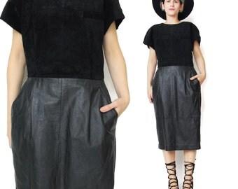 Vintage Black Suede Leather Dress Short Sleeve Dress Two Tone Dress Fitted Black Leather Dress Pockets Wiggle Paneled Leather Dress (M) E293