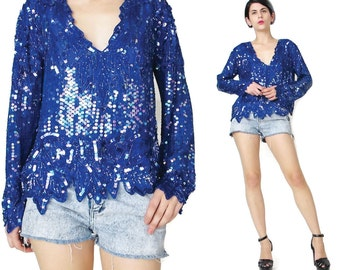 80s Vintage Silk Sequin Blouse Long Sleeve Sequin Shirt Disco Glam Party Top Beaded Silk Blouse Blue Black Evening Fancy V Neck Blouse (M)