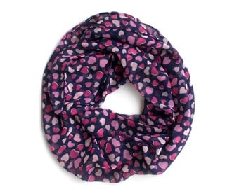 Infinity Scarf with Hearts, Blue and Pink Scarf, Cute Valentine's Day Gifts for Teenage Girls, I Love You Gifts, Lightweight Scarves