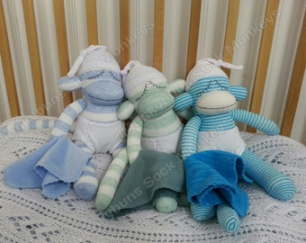 Baby Boy Sock Monkey Doll with Diaper and Blanket and Optional Embroidered Name