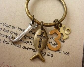 John 3:16-Scripture Keyring-For God so loved the world