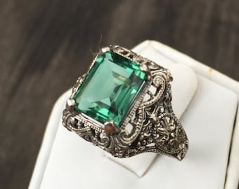 Green Amethyst Emerald Cut in Victorian Sterling Setting Size 8