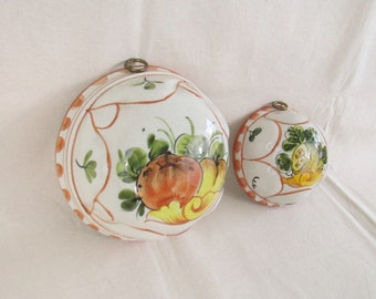 Beautiful PAIR of Vintage Ceramiche ABC Bassano Hanging Jello Molds w/Wonderful Colors from Italy ~ Cottage Shabby Chic Decor ~