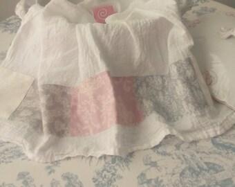 Greige Lace Print Light Orchid Damask Grey Toile Creamy White Tonal Pretty Patchwork Fabric Trimmed Flour Sack Towel Kitchen Tea Towel