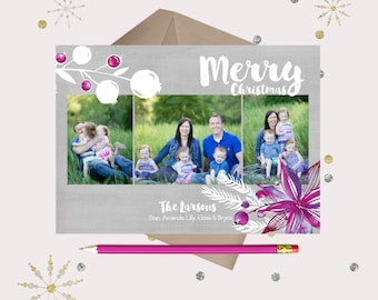 Christmas Photo Card · Merry & Light · purple, sangria, gray and white watercolor floral Christmas Cards
