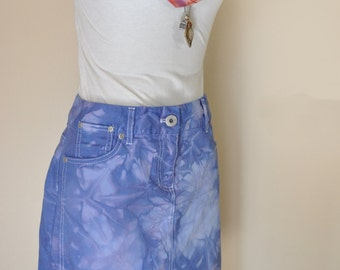 Violet Sz 12 Denim SKIRT Purple Violet Dyed by DavidsonStudio