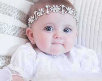 Baby girl christening headpiece, flower girl headband, baby headband, communion, baptism headband, flower girl headpiece