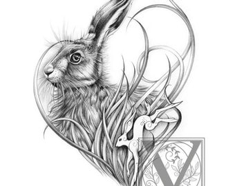 Hare Print - Wild Hare - Limited Edition Giclée Print -Rabbits and Hares.