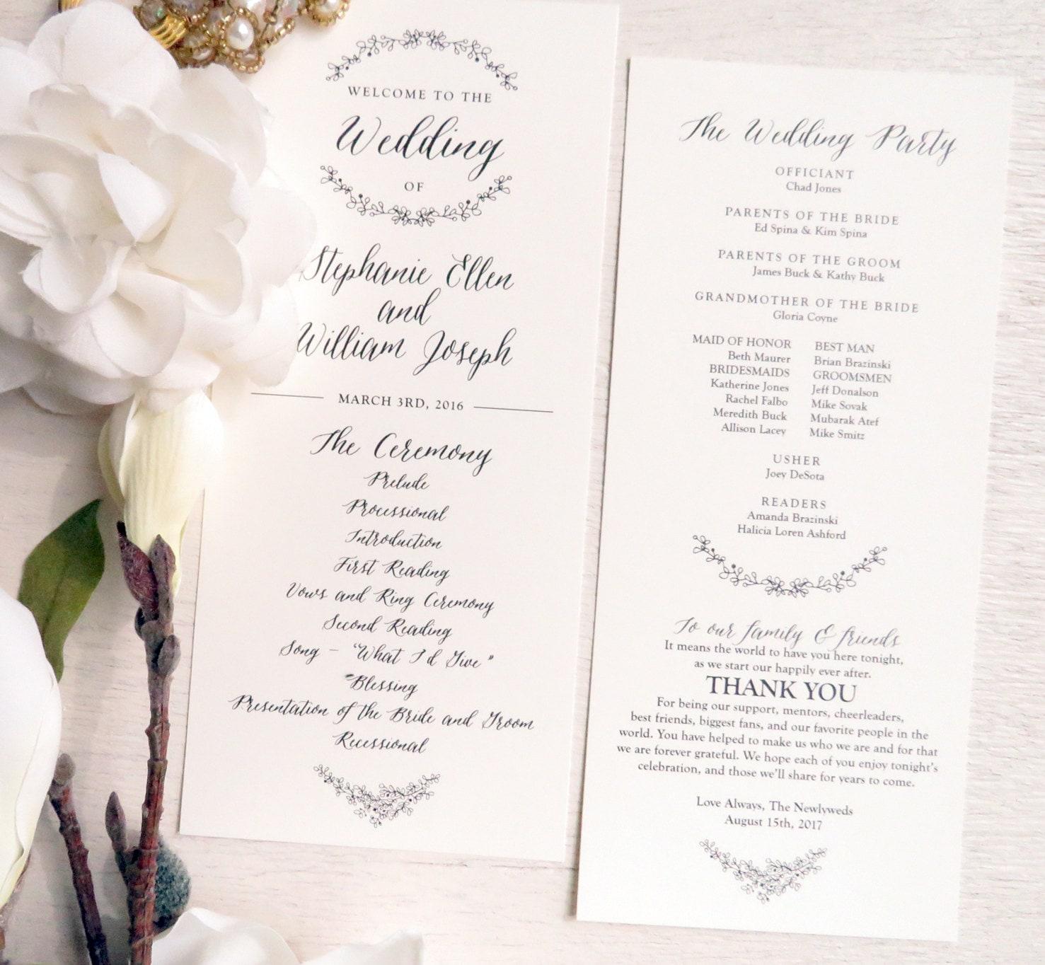 Garden Wedding Ceremony: Printable Wedding Program Ceremony Program Double Sided