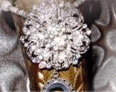 RESERVED FOR ORTIZ57 - Wedding Bouquet Memorial Photo Timeless Old World Charm Crystal Gems Pearls Silver Tibetan Beads - Free Shipping