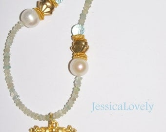 Faceted Blue Chalcedony Necklace-Freshwater Pearl Necklace-12 mm Pearl-Gold Filled Necklace-Brittanium Pendant,